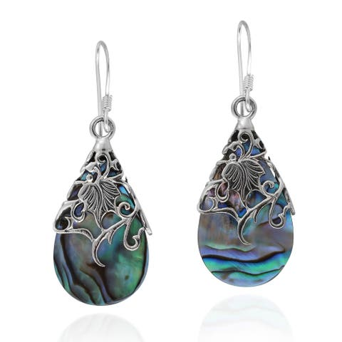 Floral Vine Ornate Teardrop .925 Silver Earrings (Thailand)