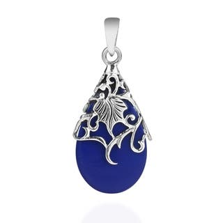 Handmade Vintage Vine Adorned Stone Teardrop .925 Silver Pendant|https://ak1.ostkcdn.com/images/products/8548657/P15827331.jpg?impolicy=medium