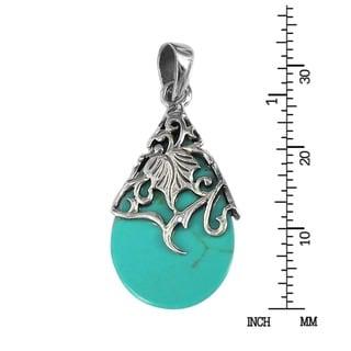 Vintage Vine Adorned Stone Teardrop .925 Silver Pendant (Thailand)