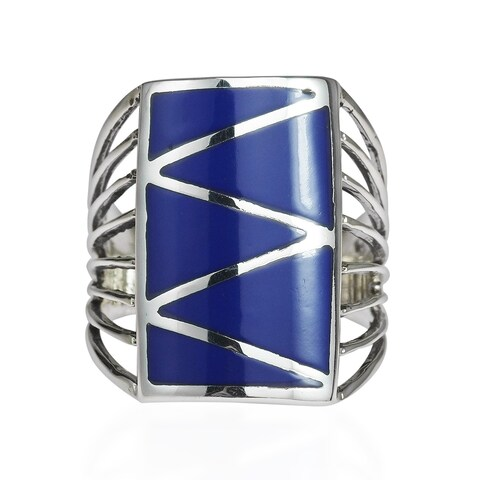 Handmade Stripe Line Zigzag Stone .925 Sterling Silver Ring (Thailand)