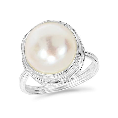 Handmade Classy Freshwater Pearl Wire Wrap Around Sterling Silver Ring (Thailand) - White