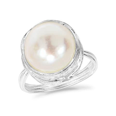 Handmade Classy Freshwater Pearl Wire Wrap Around .925 Sterling Silver Ring (Thailand) - White