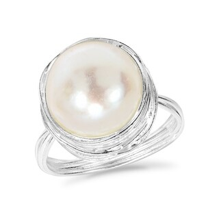 Handmade Classy Freshwater Pearl Wire Wrap Around .925 Sterling Silver Ring (Thailand) - White (More options available)