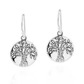Handmade Flourishing Love Tree of Life .925 Silver Dangle Earrings (Thailand)