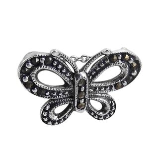 Charming Butterfly Marcasite Adorned .925 Silver Pendant (Thailand)