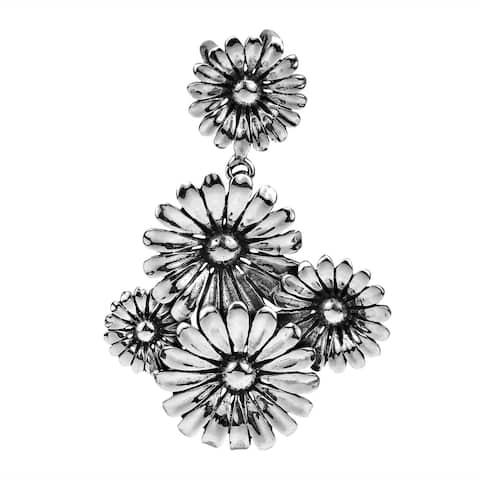 Handmade Sunflower Bouquet Sterling Silver Charm Pendant (Thailand)