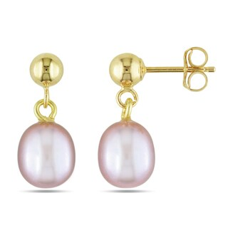 Miadora 14k Yellow Gold Pink Pearl Dangle Earrings (6.5-7 mm)
