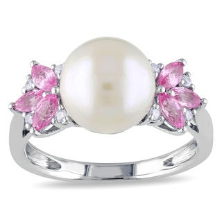 Miadora 10k White Gold Cultured Freshwater Pearl, Pink Sapphire and Diamond Ring (H-I, I2-I3)