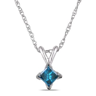 Miadora 10k White Gold 1/4ct TDW Blue Diamond Solitaire Necklace