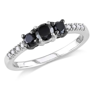 Miadora Sterling Silver Black and White Diamond 3-stone Promise Ring