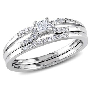 Miadora Sterling Silver 1/5ct TDW Diamond Split Shank Bridal Ring Set (G-H, I2-I3)