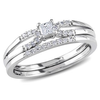 Miadora Sterling Silver 1/5ct TDW Diamond Split Shank Bridal Ring Set
