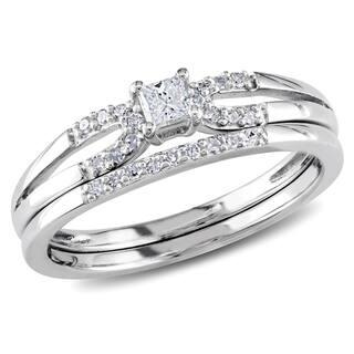 Miadora Sterling Silver 1/5ct TDW Diamond Split Shank Bridal Ring Set
