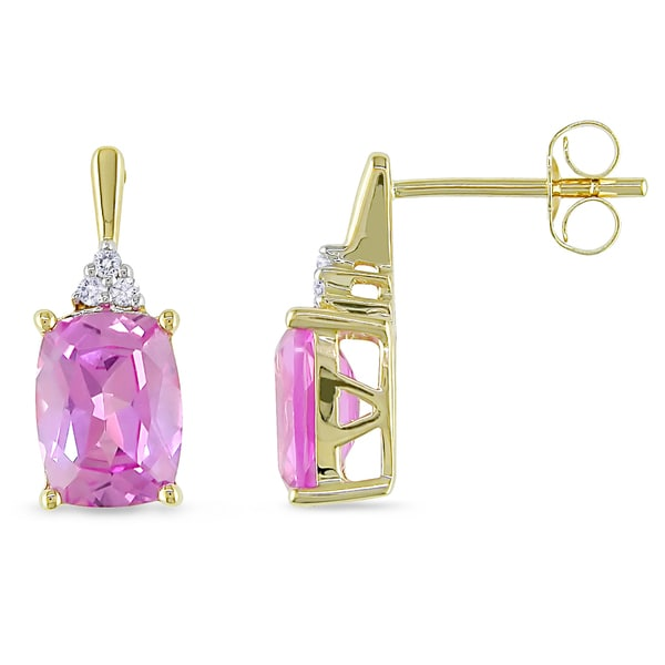 Miadora 14k Yellow Gold Created Pink Sapphire and Diamond Earrings (G-H, I1-I2)
