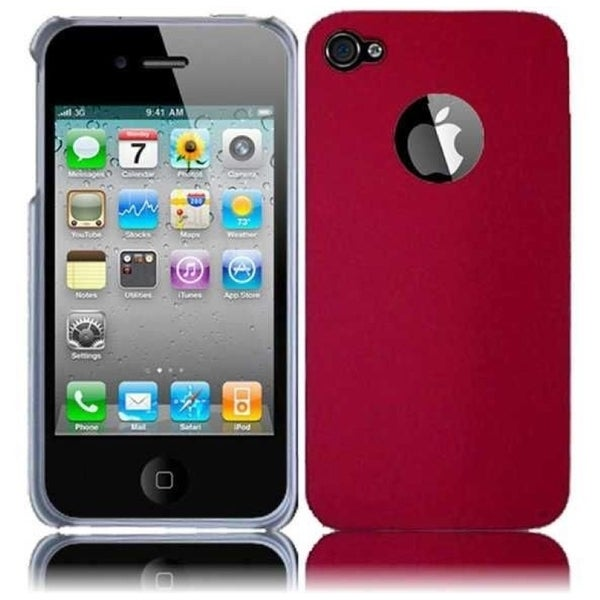 INSTEN Red Fuschia Rubberized Hard Plastic Snap-on Phone Case Cover for Apple iPhone 4/ 4S