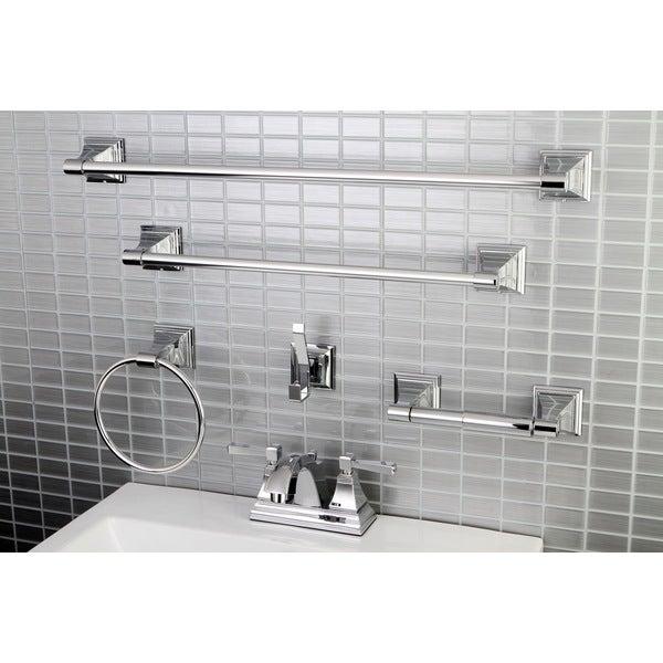 Shop modern square chrome metal faucet towel rack bathroom - Black and chrome bathroom accessories ...
