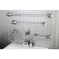 Modern Square Chrome Metal Faucet Towel Rack Bathroom Accessory Set