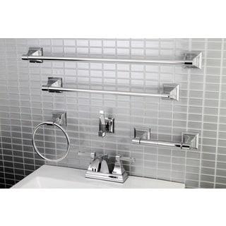 Modern Square Chrome Metal Faucet Towel Rack Bathroom Faucet U0026 Bathroom  Accessory Set