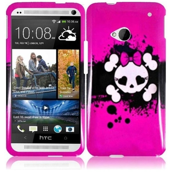 INSTEN Pink Skull Phone Case Cover for HTC One M7