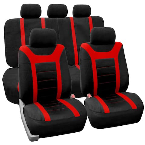 FH Group Red Airbag Compatible Sports Car Seat Covers (Full Set)
