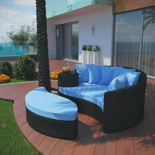 modway outdoor wicker patio daybed with ottoman and cushions