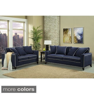 Furniture of America Alton Contemporary Chenille Sofa & Loveseat Set