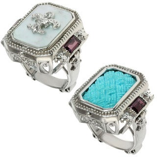 """Dallas Prince Sterling Silver and Turquoise, Mother of Pearl, Rhodolite and White Sapphire """"Flip"""" Ring"""