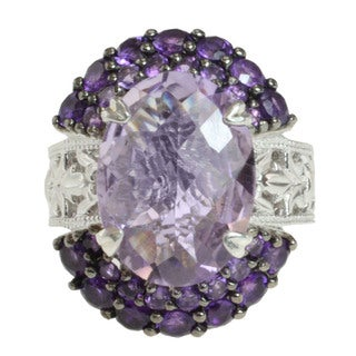 Dallas Prince Sterling Silver Pink Amethyst and Amethyst Ring