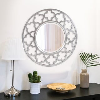 Irish Brushed Nickel Round Accent Mirror