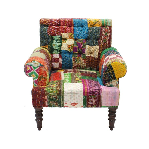 Shop Handmade Claire Patchwork Accent Chair India Free