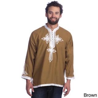 Handmade Men's Breathable Cotton Fiber Embroidered Long Sleeve Caftan Tunic (Moroccan)