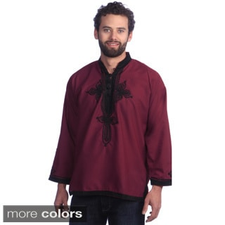 Handmade Men's Breathable Cotton Fiber Embroidered Long Sleeve Caftan Tunic (Moroccan)