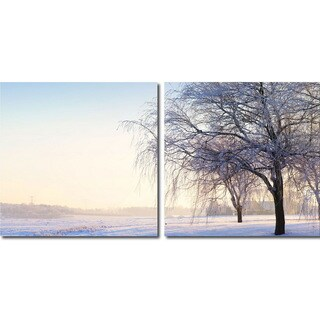 Snowy Solitude Mounted Photography Print Diptych
