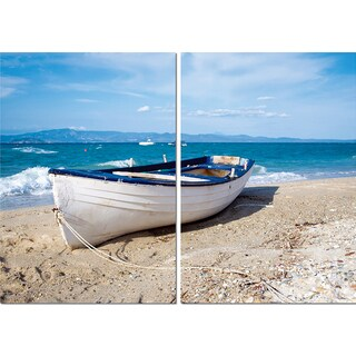 Leisurely Afternoon Mounted Photography Print Diptych - Blue