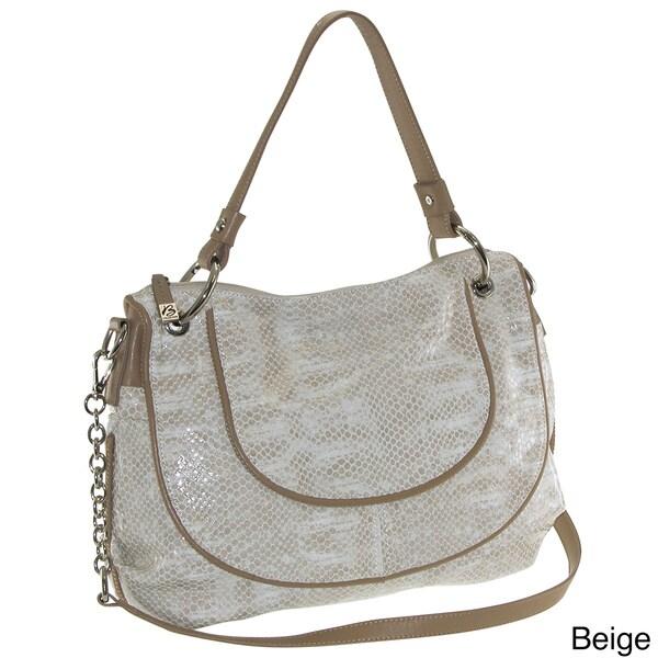 Buxton 'Sophie' Glazed Leather Snakeskin Print Shoulder Bag