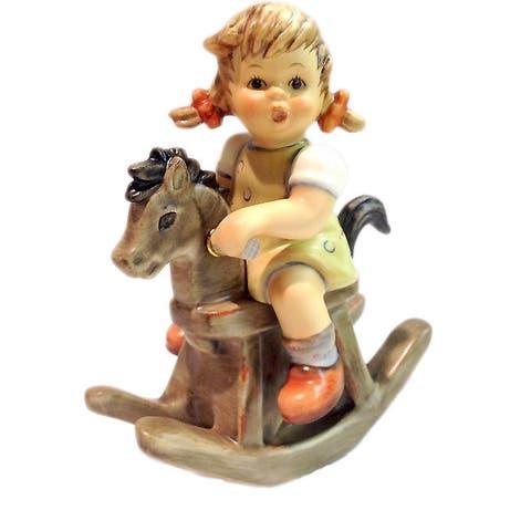 M I Hummel German Porcelain Cowboy Corral Little Girl Rocking Horse Figurine