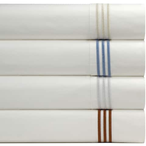 Pointehaven Egyptian Cotton Embroidered Percale Bed Sheet Set