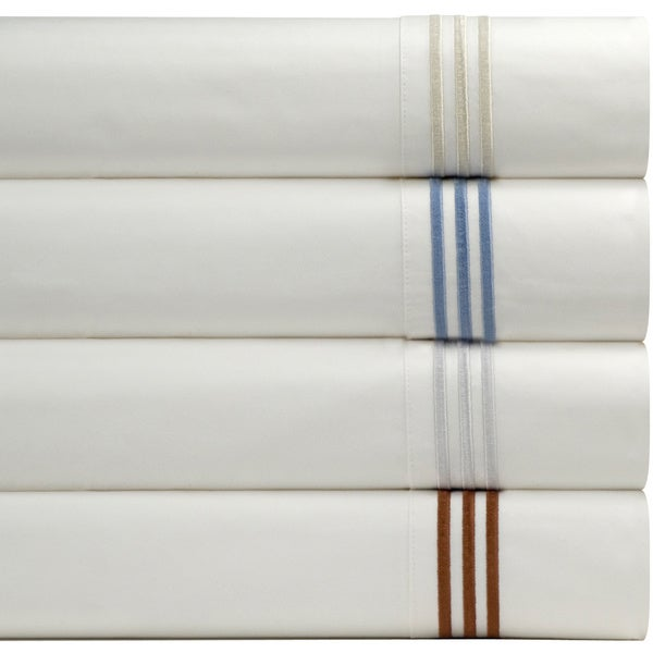 Pointehaven Egyptian Cotton 300 Thread Count Deep Pocket Embroidered Percale Sheet Set