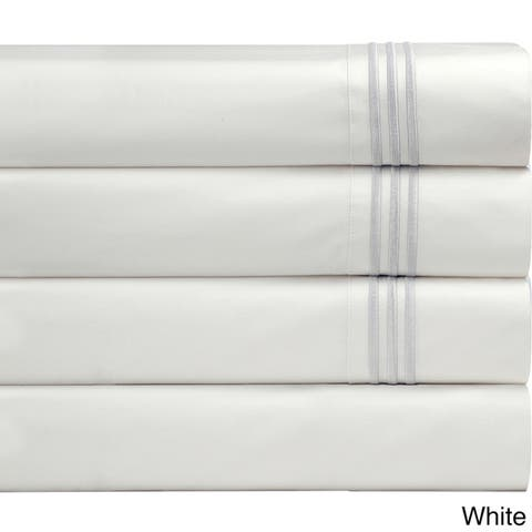 Pointehaven Egyptian Cotton 300 Thread Count Deep Pocket Embroidered Percale Bed Sheet Set
