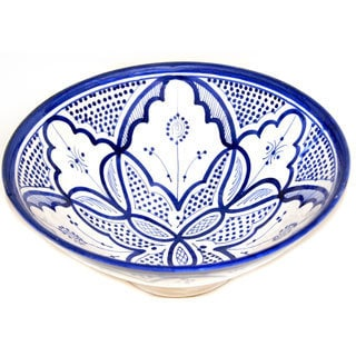 Handmade Moroccan Vivid Fez Blue Ceramic Serving Bowl (Morocco)