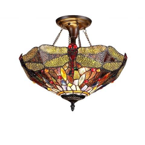 Tiffany Style Dragonfly Design 2-light Flush Mount