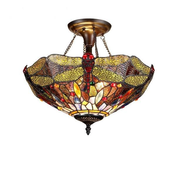 quality design 3dccd 6575d Chloe Tiffany Style Dragonfly Design 2-light Flush Mount