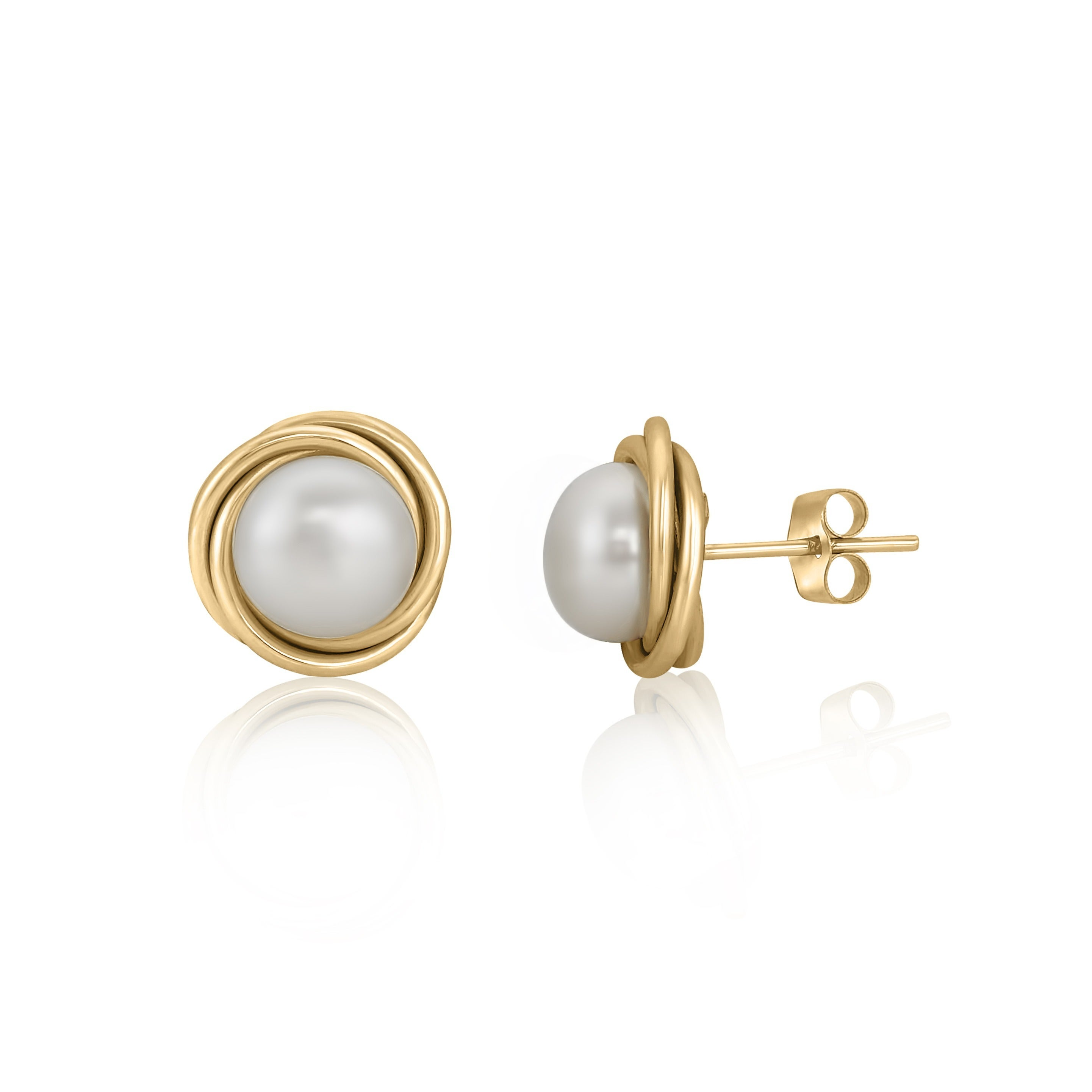 Pearlyta 14k Gold Love Knot Freshwater Pearl Stud Earrings With Gift Box 5mm White