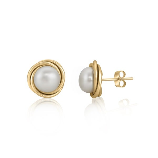 Pearlyta 14k Gold Love Knot Freshwater Pearl Stud Earrings with Gift Box (5mm) - White