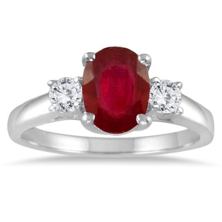 Marquee Jewels 14k White Gold .25ct TDW Oval Ruby and Diamond Ring (I-J, I1-I2)