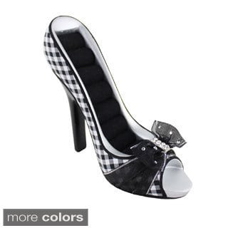 Jacki Design Retro Plaid Peep Toe Shoe Ring Holder
