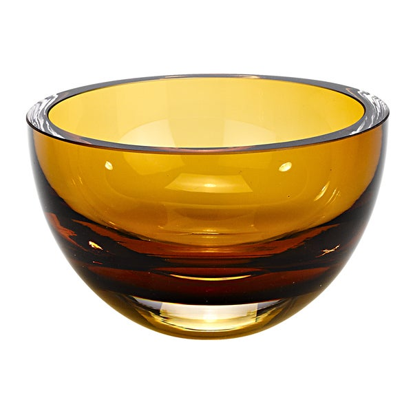 Penelope European Mouth Blown 6-inch Amber Candy Bowl