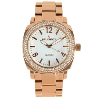 Peugeot Women's Rose Goldtone Crystal Bracelet Link Watch