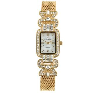 Peugeot Women's Crystal Bezel Gold-Tone Mesh Bracelet Watch