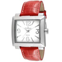 Peugeot Women's Square Red Leather Boyfriend Watch